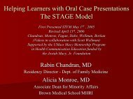 Helping Learners with Oral Case Presentations The STAGE Model