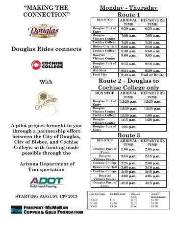Bus Schedule -Effective August 13, 2013 - City of Douglas Arizona