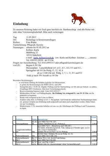 Ausschreibung Turnier - Pferdesportverband-MV