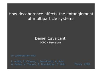 How decoherence affects the entanglement of multiparticle ... - UFF