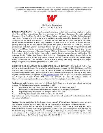 Highlander Happenings March 29 – April 10, 2010 - Woodlands ...