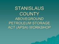 Stanislaus County Aboveground Petroleum Storage Act (APSA ...