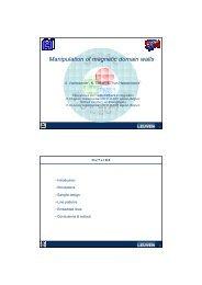 Manipulation of magnetic domain walls - KU Leuven
