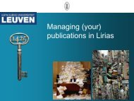 Practical Guide to Managing your publications in Lirias - KU Leuven