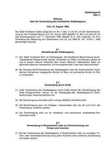 StadtwappenS (002.1) Satzung über die ... - Stadt Kulmbach