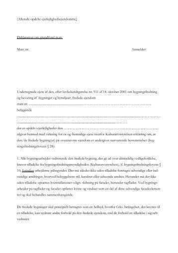 Deklaration om grundfond, allerede opdelte ... - Kulturstyrelsen