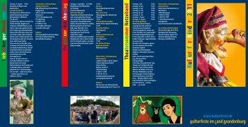 K u l t u r f ü r K i n d e r 2 0 1 1 - Kulturfeste im Land Brandenburg