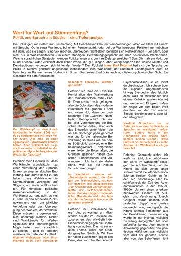 Sprache der Politik in Südtirol Ein Gespräch mit Dr. Hans Karl Peterlini