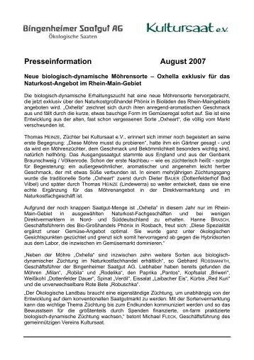Neue biologisch-dynamische Möhrensorte - Kultursaat eV