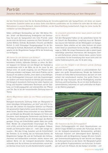 Biologisch-dynamische Gemüsezüchtung im ... - Kultursaat eV