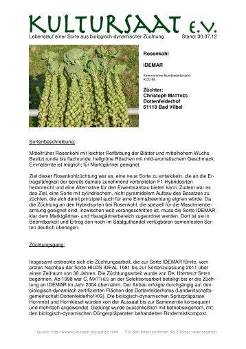 IDEMAR - Lebenslauf einer Sorte aus biologisch-dynamischer ...