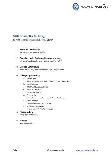 SEO Schnellschulung hnellschulung - Willkommen
