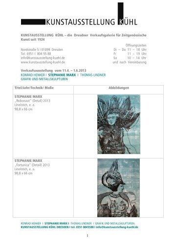 die Dresdner Verkaufsgalerie für Zeitgenössische Kunst seit 1924 ...