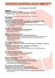 Veranstaltungen im Februar 2010 Mittwoch, 10. Februar um 18 Uhr ...