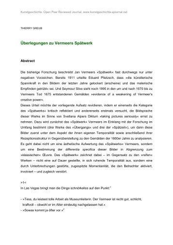 Überlegungen zu Vermeers Spätwerk - Kunstgeschichte Open Peer ...
