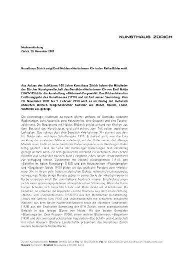Kunsthaus Zürich zeigt Emil Noldes «Herbstmeer XI» in der Reihe ...