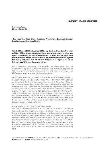 «Das Neue Kunsthaus. Grosse Kunst und ... - Kunsthaus Zürich