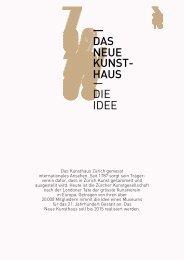 — DAS NEUE KUNST- HAUS — DIE IDEE - Kunsthaus Zürich