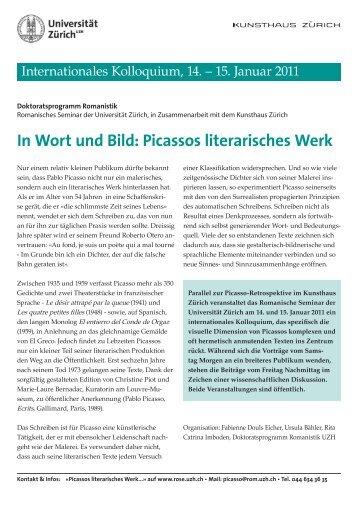 In Wort und Bild: Picassos literarisches Werk - Kunsthaus Zürich