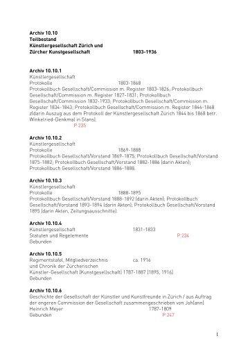 10.10 (Findbuch, PDF) - Kunsthaus Zürich