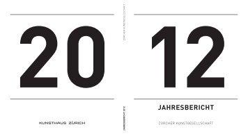 Jahresbericht 2012 (PDF) - Kunsthaus Zürich