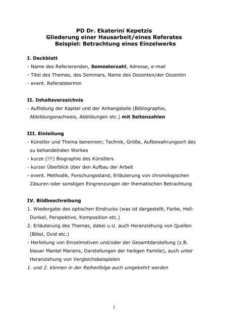 Gliederung Einer Hausarbeit Kunsthochschule Kassel