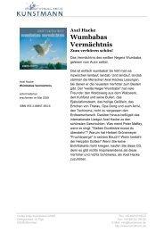 Axel Hacke Wumbabas Vermächtnis - Verlag Antje Kunstmann