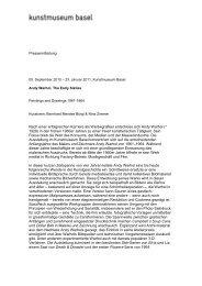 Pressetext Warhol - Kunstmuseum Basel