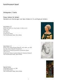 Bildlegenden - Kunstmuseum Basel