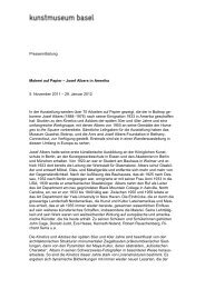 Pressetext - Kunstmuseum Basel