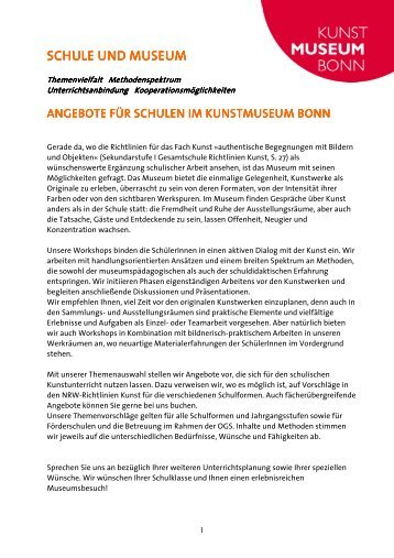 SCHULE UND MUSEUM - Kunstmuseum Bonn
