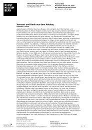 Vorwort und Dank aus dem Katalog - Kunstmuseum Bern