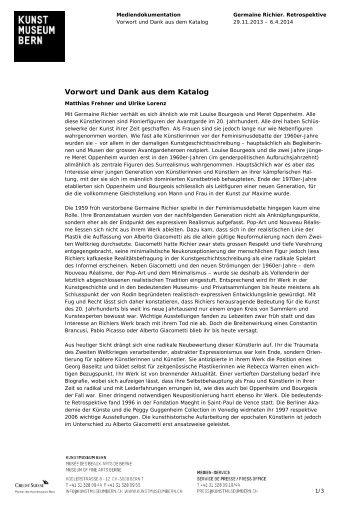 Download Katalog Texte Germaine Richier (pdf) - Kunstmuseum Bern
