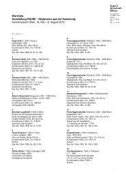 Werkliste Ausstellung RAUM! - Kunstmuseum Olten