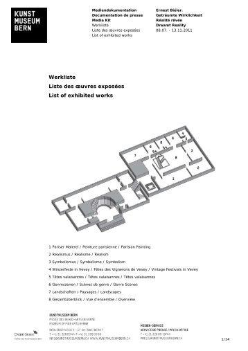 Werkliste Ernest Biéler (pdf) - Kunstmuseum Bern