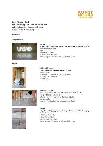 Werkliste - Kunstmuseum St.Gallen