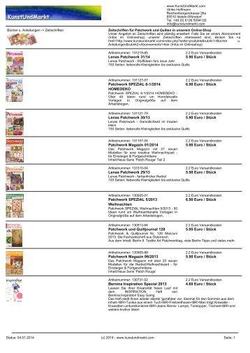 Zeitschriften für Patchwork und Quilten in unserem ... - KunstUndMarkt