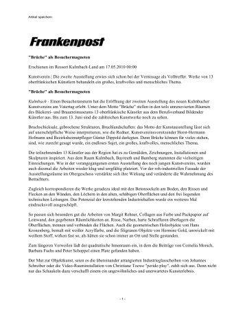 Frankenpost, 17. Mai 2010 - Kunstverein Kulmbach