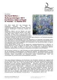 Gerhard Böhm – Kulturpreisträger 2011 - Kunstverein Kulmbach
