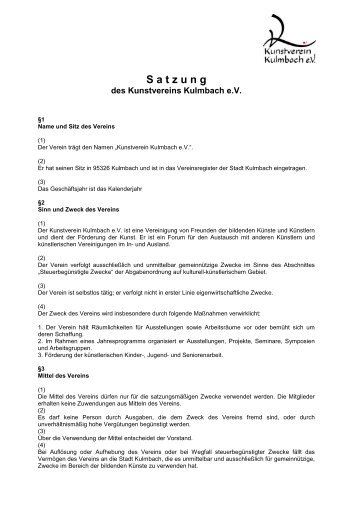 Satzung Kunstverein Kulmbach eV