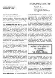 Mitgliederrundschreiben November 2006 - Kunstverein Rosenheim