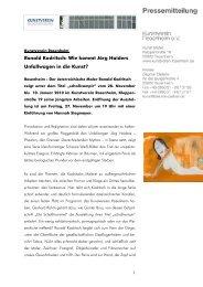 Den Pressetext zur Ausstellung lesen - Kunstverein Rosenheim