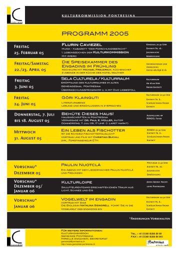 Jahresprogramm 1 2005 deutsch und romanisch PDF ... - Kunstwege