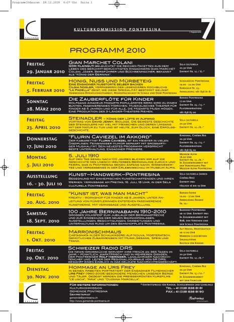 Jahresprogramm 7 2010 deutsch und romanisch PDF ... - Kunstwege
