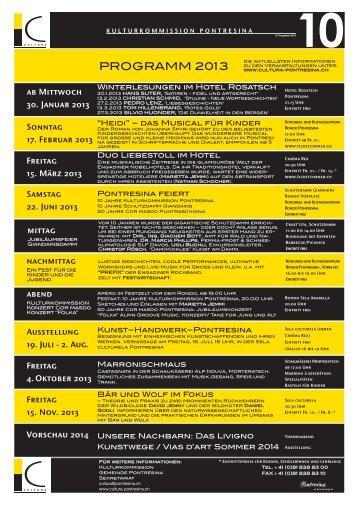 Programm Kulturkommission 2013 - Pontresina