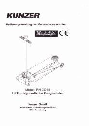 Bedienungsanleitung - KUNZER GmbH