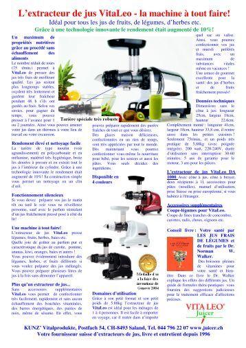L 39 extracteur de jus vitaleo kunz vitalprodukte - Extracteur de jus moulinex zu255b10 ...