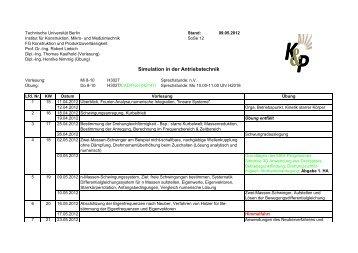Ablaufplan SidAT SoSe12 - Konstruktion und Produktzuverlässigkeit
