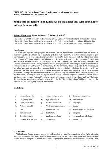 Simulation des Rotor-Stator-Kontaktes im Wälzlager und seine ...