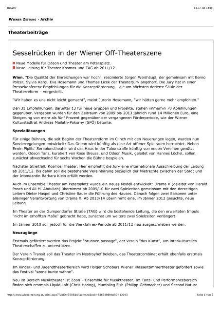 Sesselrücken in der Wiener Off-Theaterszene